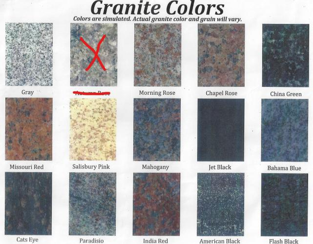 We offer 14 granite colors. You may view the colors here.